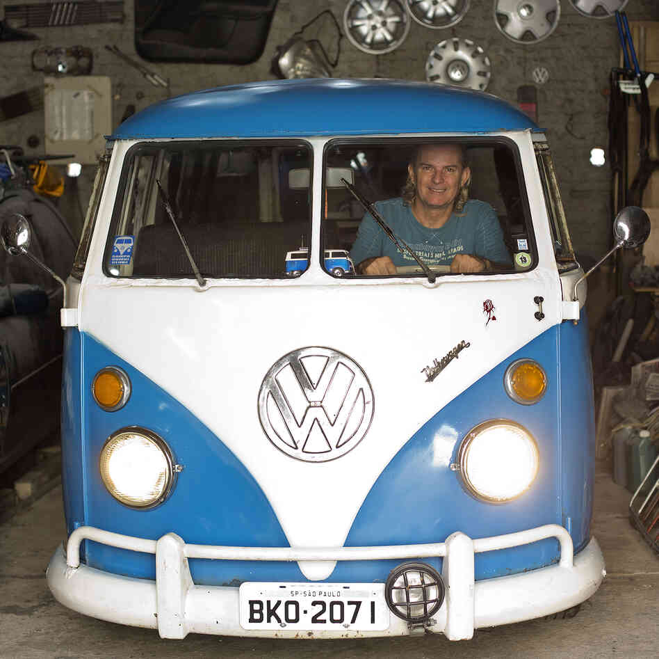 Enio Guarnieri of Sao Paulo, Brazil, in his 1972 Volkswagen. Soon, the