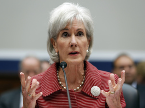 "Department of Health and Human Services Secretary Kathleen Sebelius says ""6 in 10 Americans who currently lack insurance will be able to find coverage that costs less than $100 a month"" in health insurance exchanges set to open next week. Here, Sebelius is shown testifying on Capitol Hill in June."