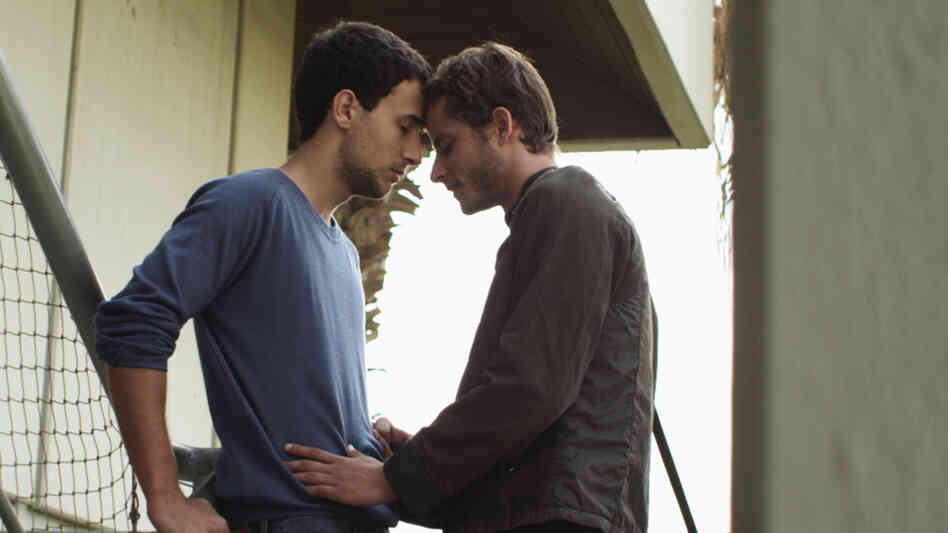 Nicholas Jacob (Nimr) and Michael Aloni (Roy) are star-crossed lovers of a different stripe in the Israeli drama Out in the Dark.