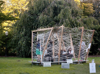 Visitors stop by Georgetown University's sukkah during the Jewish holiday of Sukkot. The structure, designed by two award-winning architects, can be collapsed and reused in future years.