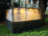 A typical boxy sukkah — this one is in Tel Aviv.