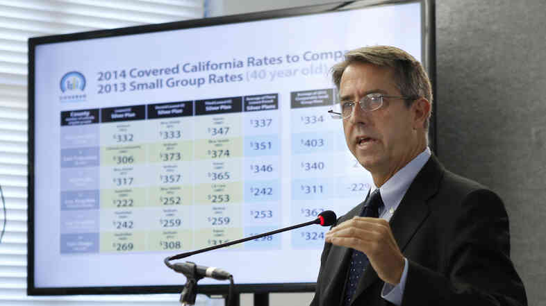 Peter Lee, executive director of Covered California, the state agency running the state's new health exchange, announced the plans and prices that will be offered by private