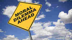 A yellow road sign reads: Moral Dilemma Ahead.
