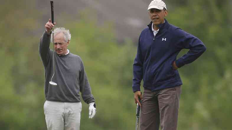 President Obama (right) with Sen. Bob Corker, R-Tenn., on the first hole of the golf course at Andrews Air Force Base on May 6.