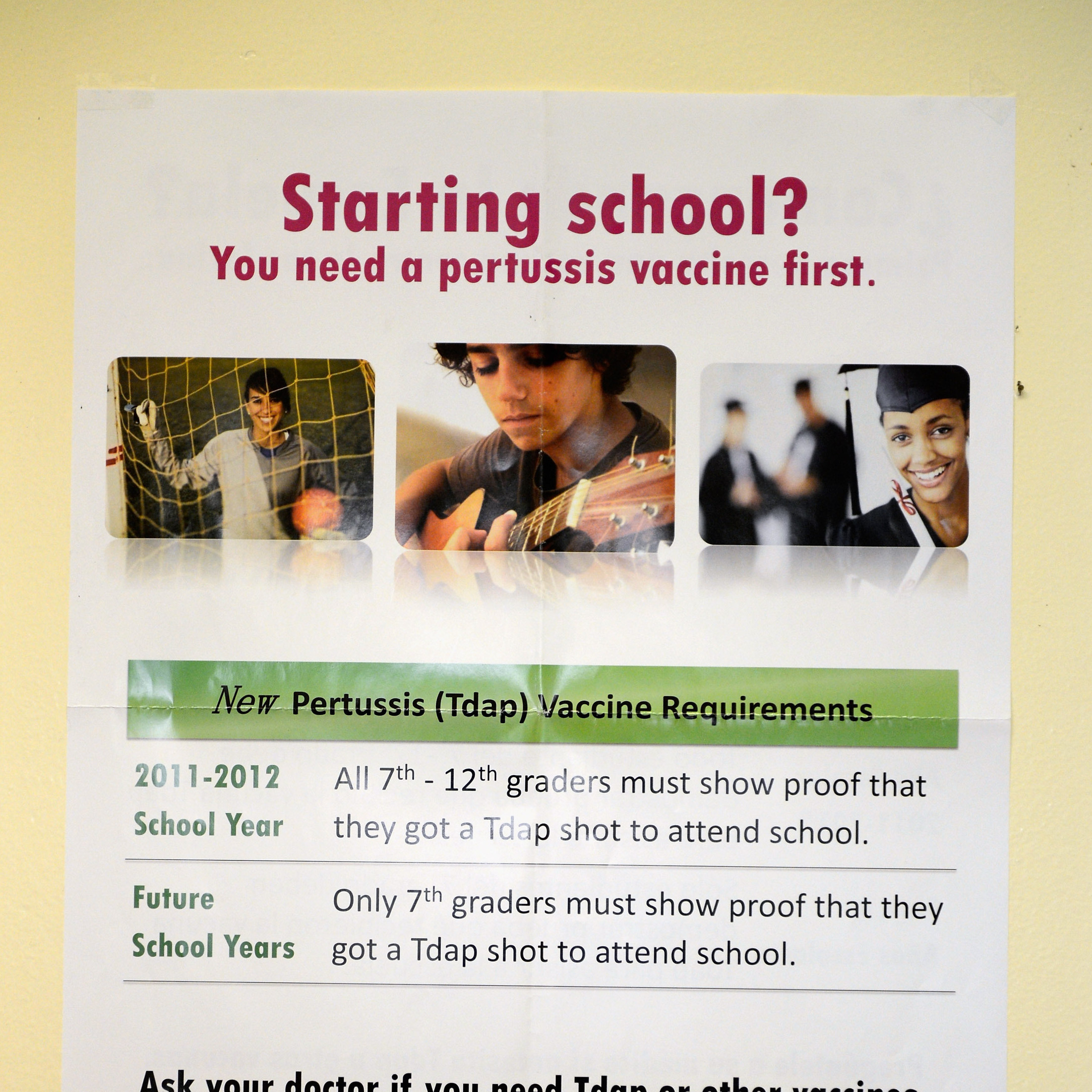 Students in a Los Angeles middle school were notified in August 2012 of new state requirements that they get vaccinated for pertussis.