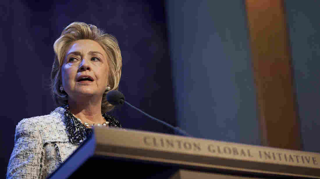 Former Secretary of State Hillary Clinton speaks during the annual Clinton Global Initiative meeting in New York City on Wednesday.