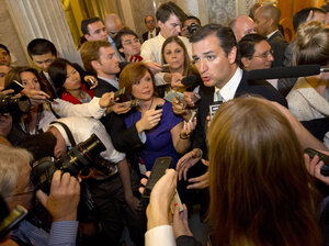 Republican Sen. Ted Cruz speaks to the media Wednesday after deli