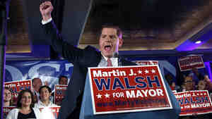 Boston mayoral hopeful Martin Walsh at his primary election night party Tuesday.