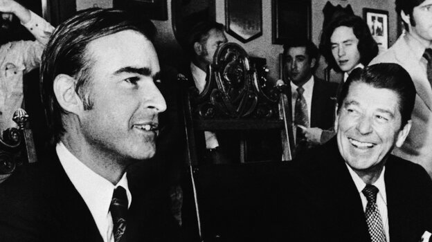 California's then-Republican Gov. Ronald Reagan, in November 1974 in Sacramento, Calif., with Democratic Gov.-elect Jerry Brown. Nearly 40 years later, Brown is again serving as California governor. During his first run for that office, he was helped by name recognition: His father had been governor, as well.