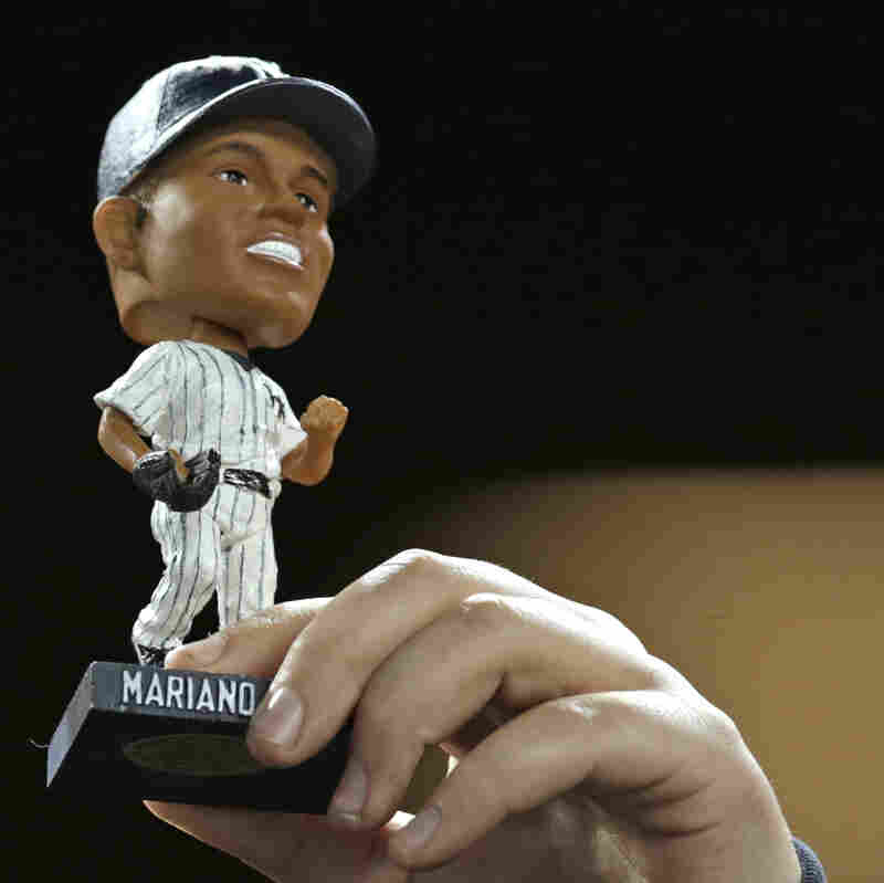 This is what all the fuss was about: One of the Mariano Rivera bobblehead dolls that were eventually given away Tuesday night at Yankee Stadium.