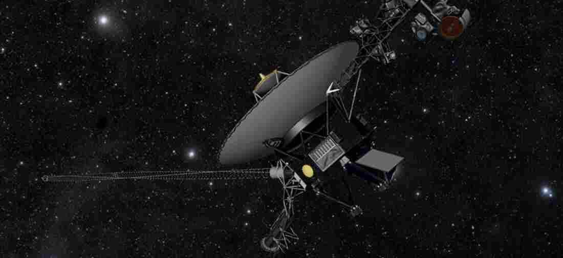 An illustration showing NASA's Voyager spacecraft against a field of stars in the darkness of space.