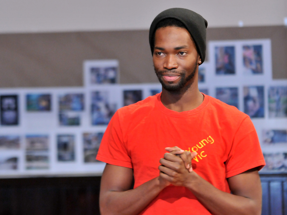 McCraney in rehearsal for <em>The Brother/Sister Plays </em>at Chicago's Steppenwolf Theatre, where he's a member of the ensemble. (Mark Campbell/Steppenwolf Theatre)