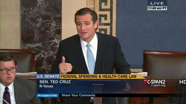 Sen. Ted Cruz's anti-Obamacare strategy seemed to fall flat Tuesday with many of his fellow Senate Republicans. They urged him to back down out of concern over a possible government shutdown next week. (C-SPAN.org screen shot)