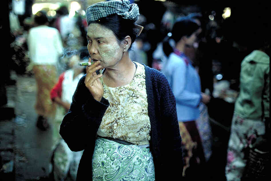 Woman smoking cheroot, Mandalay, 1987