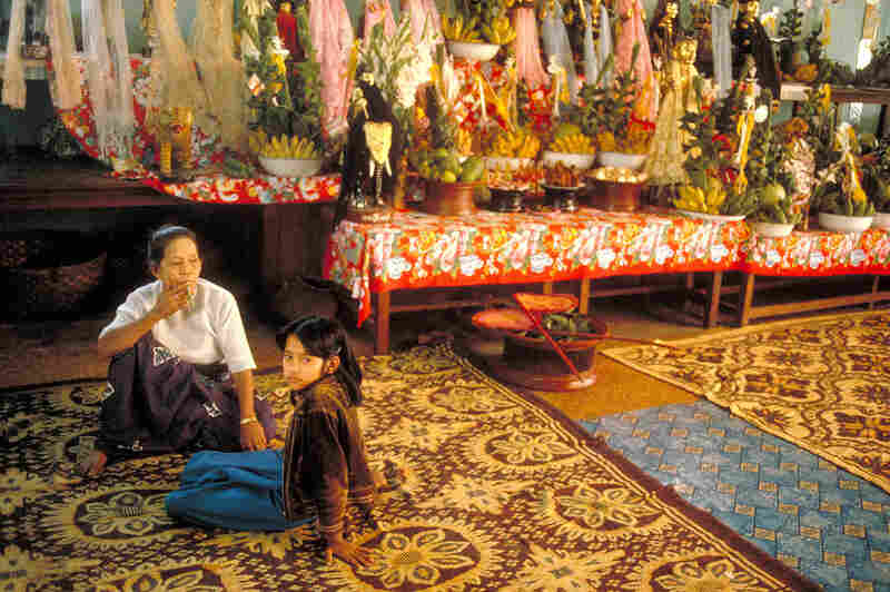 Nat spirits altar, Mandalay, 1987
