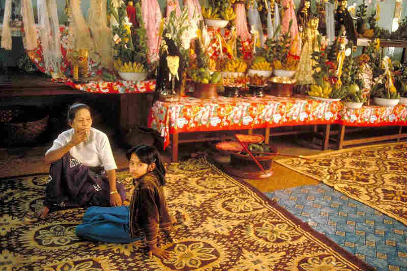 Nat spirits altar, Mandalay, 1987