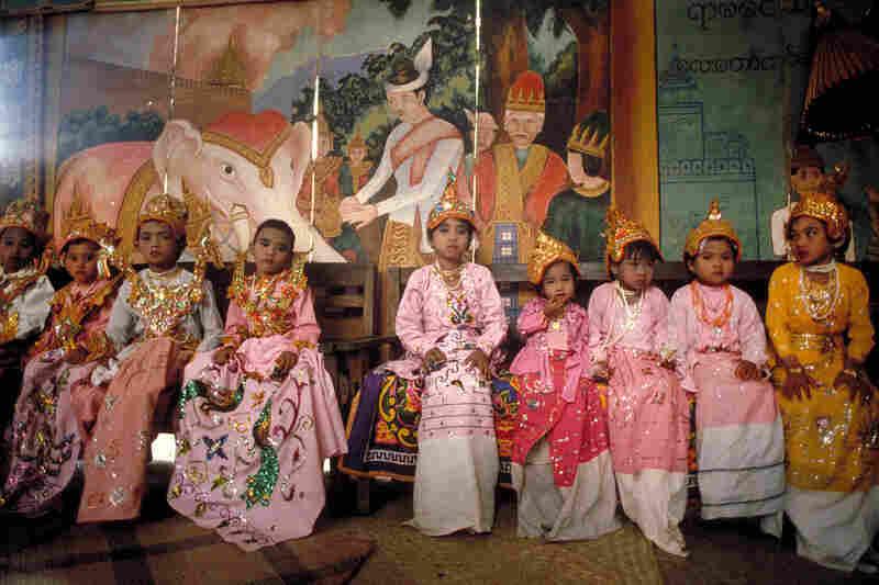 Novice monk initiates, Bagan, 1987