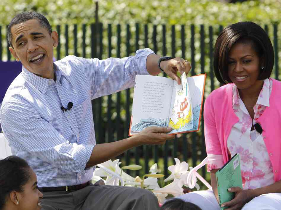 President Obama, accompanied by first lady Michelle Obama, reads Green Eggs and Ham at the annual White House Easter Egg Roll in April 2010.