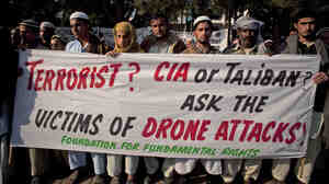 Pakistani tribal villagers hold a rally in the capital, Islamabad, in 2010 to condemn U.S. drone attacks on their villages.