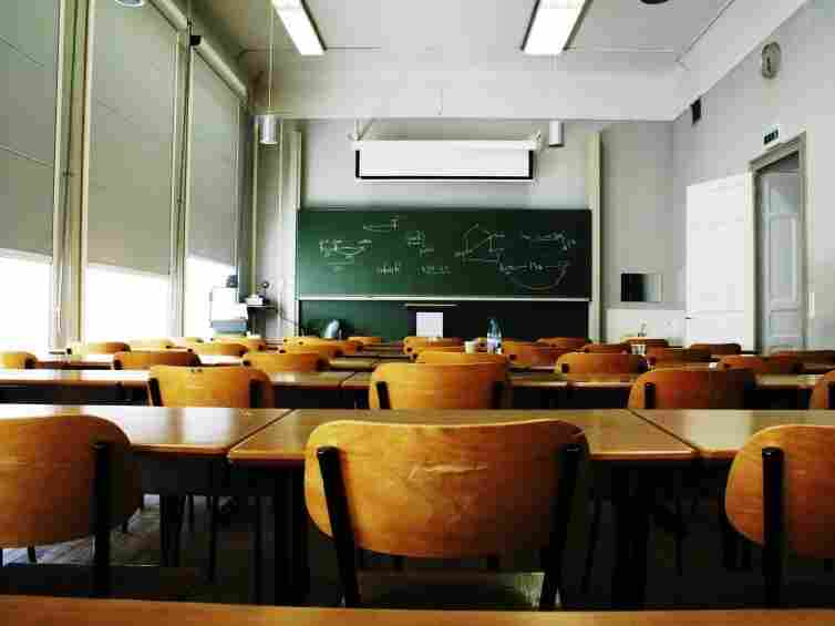 A large, empty classroom.