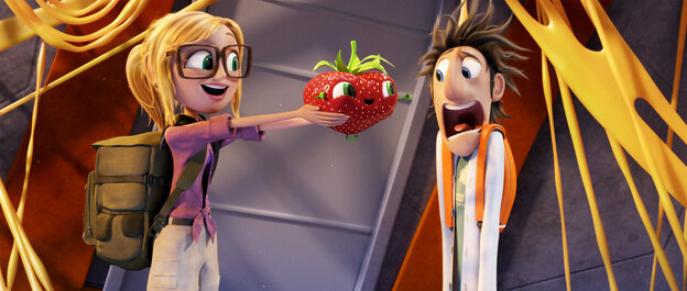 "Barry the sentient strawberry is just one of the ""foodimals"" our heroes Flint (Bill Hader) and Sam (Anna Faris) encounter when they return to Swallow Falls in Cloudy With a Chance of Meatballs 2."