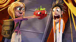 """Barry the sentient strawberry is just one of the """"foodimals"""" our heroes Flint (Bill Hader) and Sam (Anna Faris) encounter when they return to Swallow Falls in Cloudy With a Chance of Meatballs 2."""