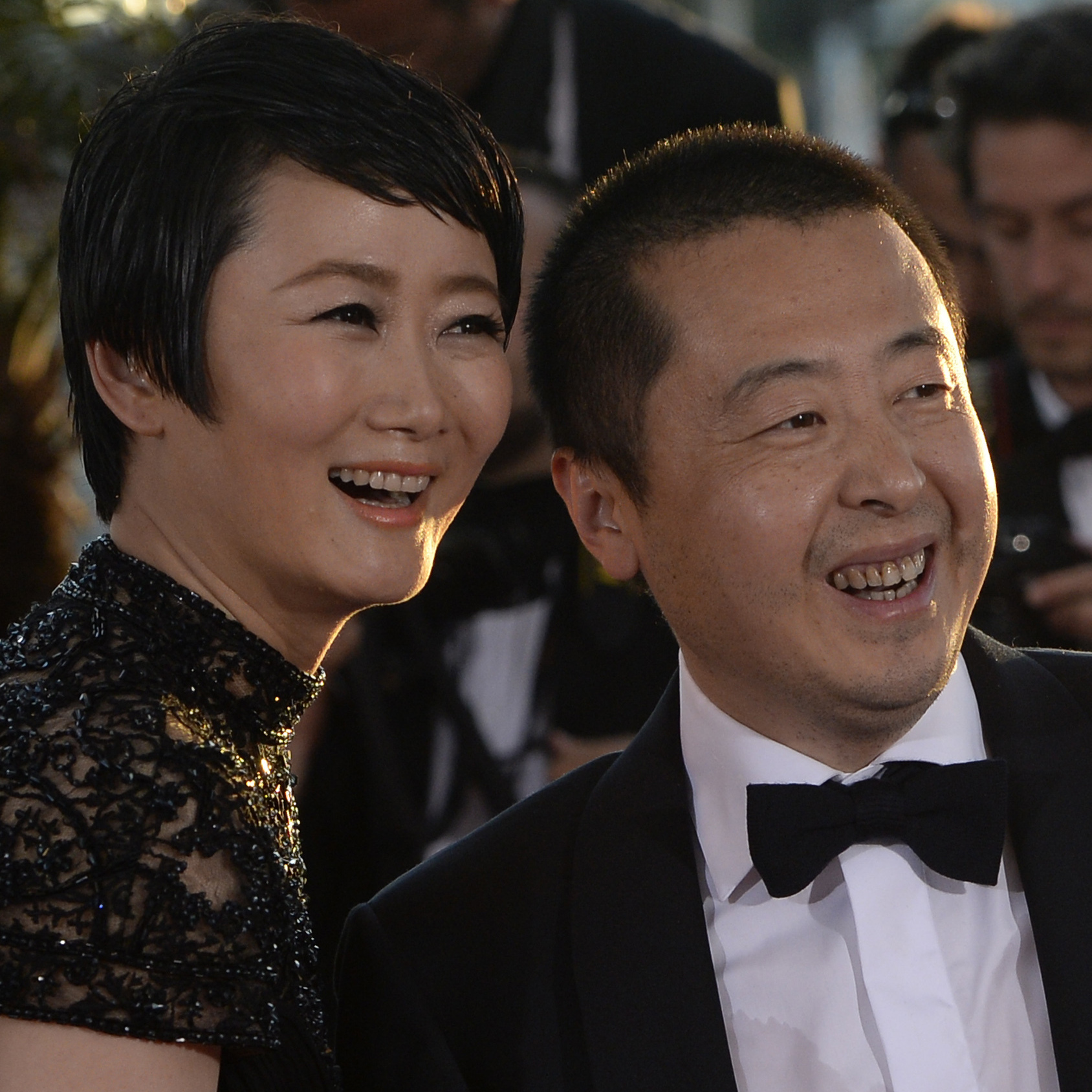Jia with Zhao -- his star, and his real-life wife -- at the 66th Cannes Film Festival in May. The writer and director took home the prize for best screenplay.
