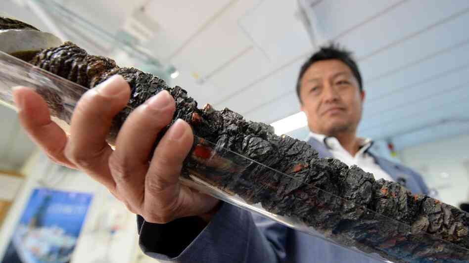 Shinichi Kuramoto of the Center for Deep Earth Exploration in Japan displays a replica of earthquake fault rock.