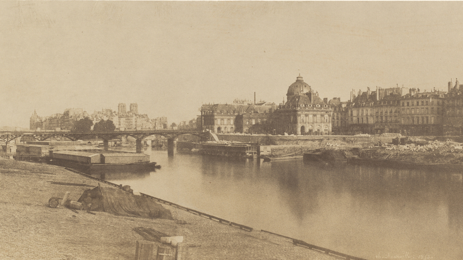 This 1854 Marville print shows a new wing of the Louvre being built (left), and the Seine before it underwent its own transformation. Click here to enlarge. (National Gallery of Art, Washington, Patrons' Permanent Fund)
