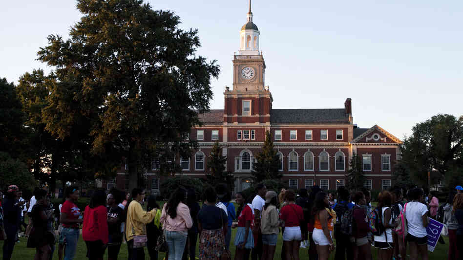 Students and alumni line up at Howard University in Washington, D.C., before August's commemoration of the 50th anniversary of the March on Washi