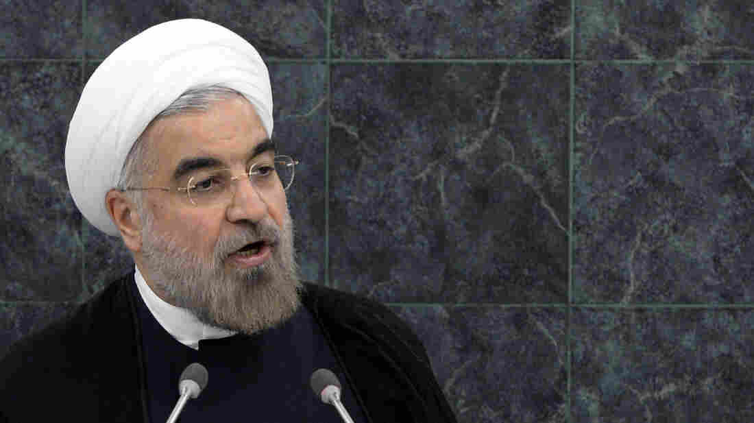 Iran's President Hasan Rouhani speaks at the U.N. General Assembly on Tuesday. With his outreach to the West, he received mostly positive reviews in the U.S., and most Iranians, who are being squeezed by sanctions, also appear supportive.
