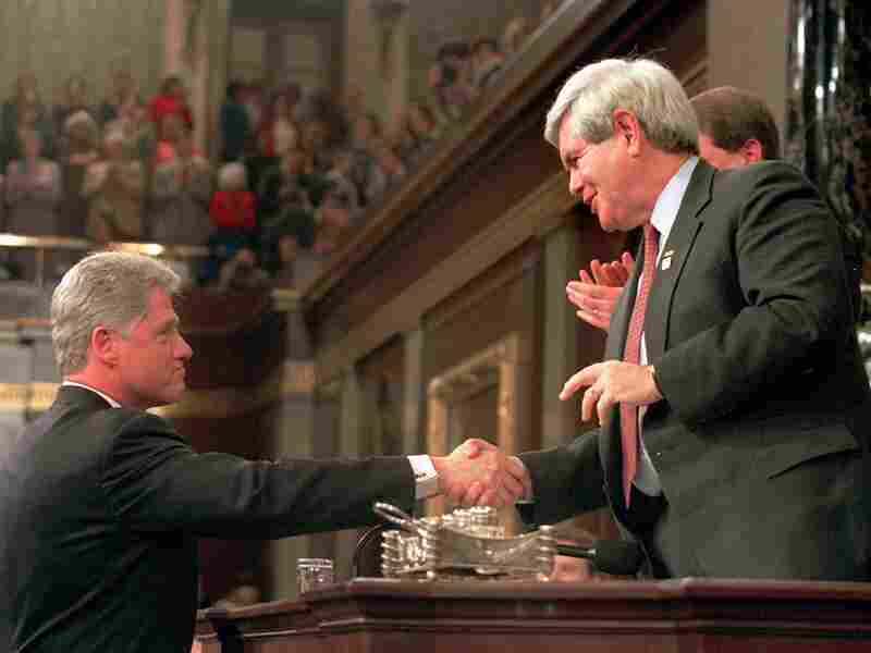 President Clinton shakes hands with House Speaker Newt Gingrich prior to giving his State of the Union address in January 1996.
