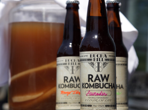 Kombucha made by artisan tea brewer Bill Bond in Akron, Ohio, comes in an array of flavors, such as lemongrass, ginger, blueberry and watermelon.