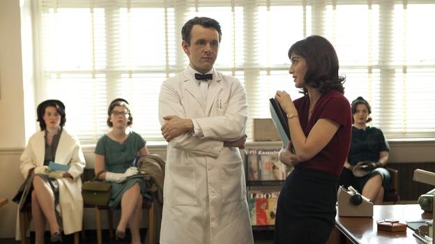 Michael Sheen and Lizzy Caplan play famous sex researchers William Masters and Virginia Johnson in a new series, Masters of Sex. (Showtime)