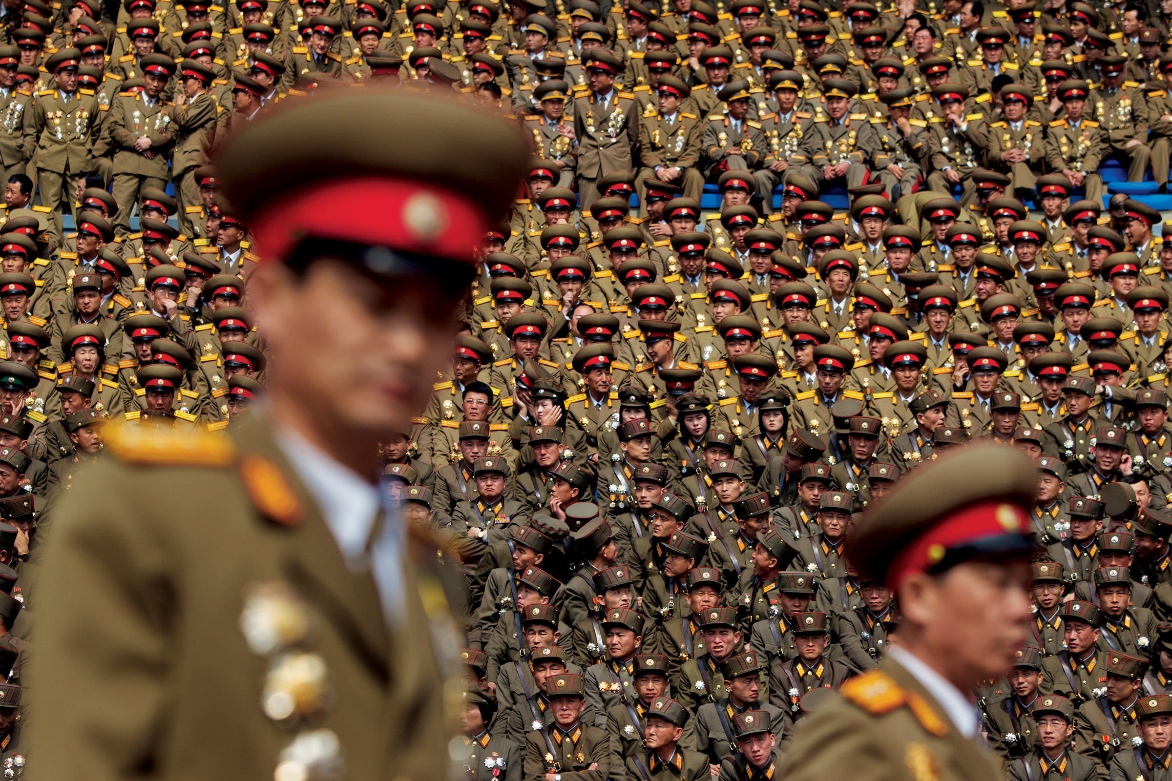 Members of one of the world's largest militaries, over a million strong, pack a stadium in Pyongyang in 2012 during celebrations honoring North Korea's first leader, Kim Il Sung.