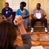 Assisters get up to speed on how best to explain the new health coverage choices during training on Sept. 25 at the Omni Shoreham Hotel in Washington, D.C.