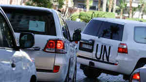 A convoy of U.N. vehicles with chemical weapons experts on board head out on Friday to do more work as the investigate allegations of chemical weapons use in near Damascus.