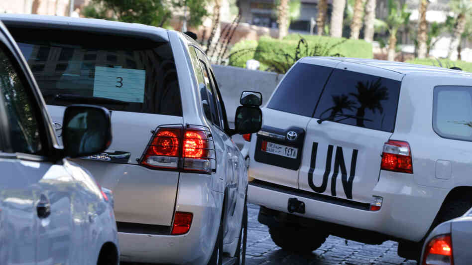 A convoy of U.N. vehicles with chemical weapons experts on board head out on Friday to do m