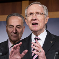 Senate Majority Leader Harry Reid, accompanied by Sen. Charles Schumer, D-N.Y., tells reporters that Republicans need to