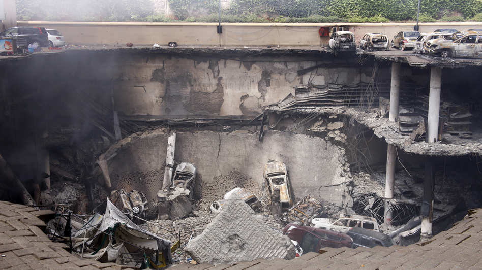 This photo released by the Kenya presidency shows the collapsed upper car park of the Westgate Mall in Nairobi last week after al-Shabab terrorists attacked with explosives and guns, killing more than 60 people.