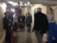 Members of the media wait outside a room in the basement of the Capitol Building in Washington, D.C., on Saturday, where House Republicans met in a closed session.