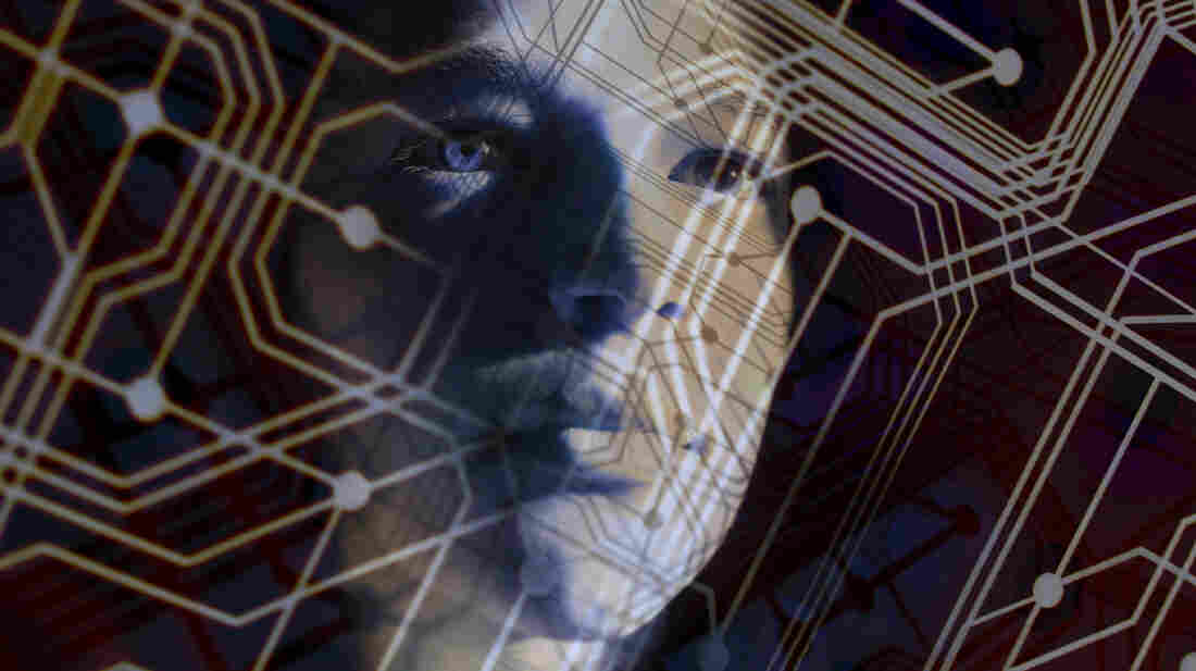 An illustration showing a face emerging from a pattern of circuits.