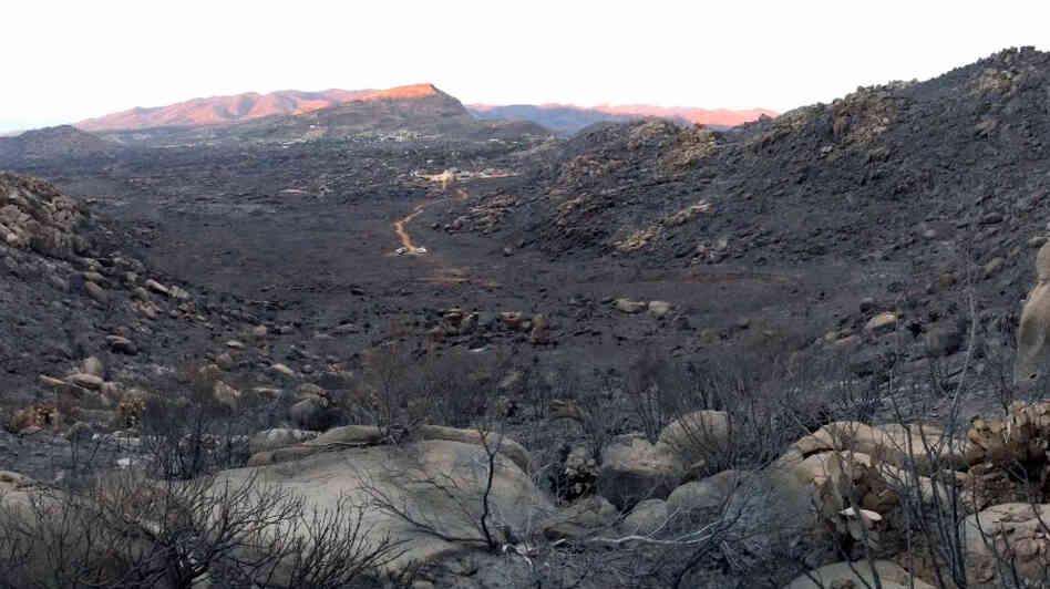 An image from the briefing video on the Yarnell Hill fire shows the area near Yarnell, Ariz., where the fire trapped and killed 19 firefighters in the Granite Mountain hotshots crew.