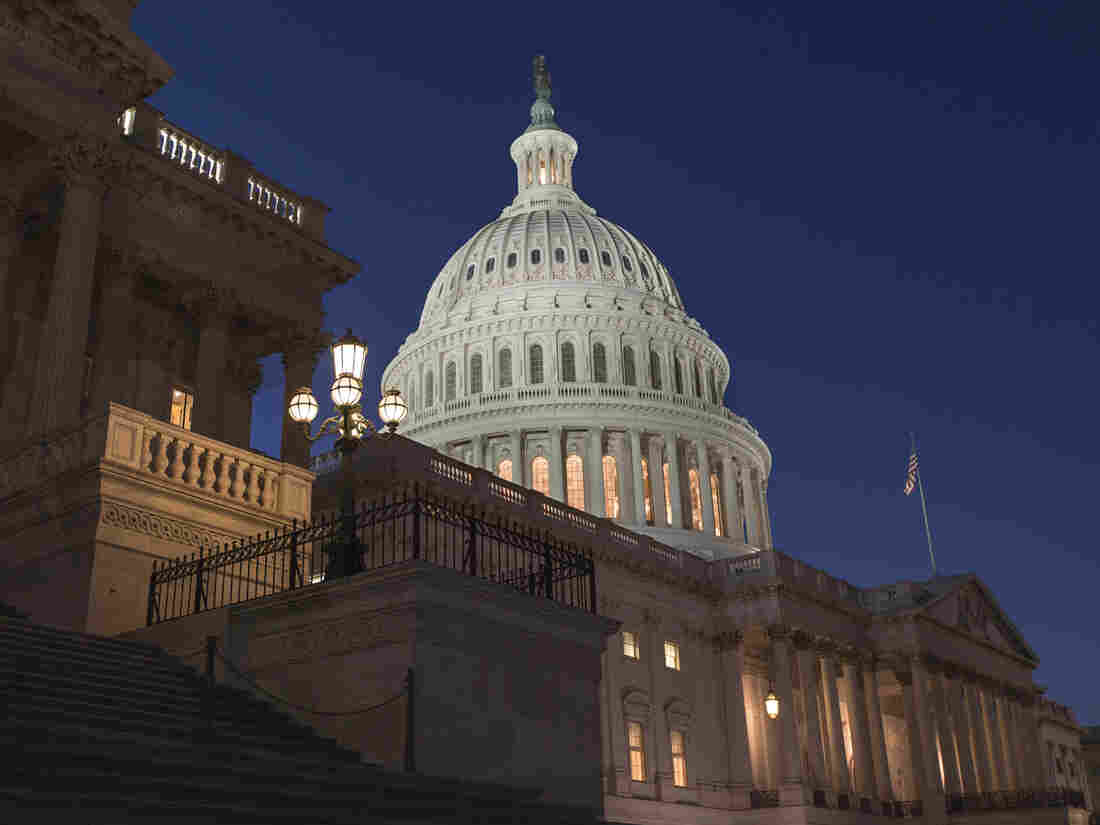 The lights are on at the Capitol as the House of Representatives works into the night Saturday.