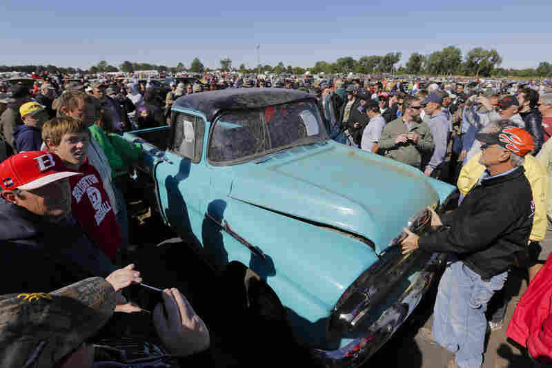 This 1958 Chevy Cameo pickup, with an odometer showing 1.3 miles, was sold at the Lambrecht Chevrolet auction in Pierce Neb., for $140,000 Saturday. The rare truck fetched the top price at the auction of more than 500 vintage vehicles.