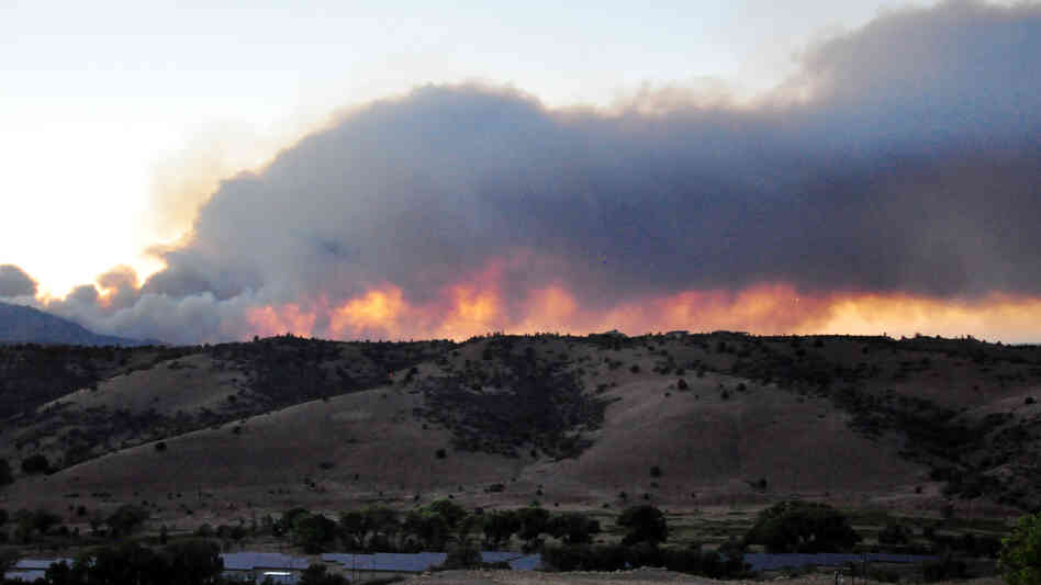 A wildfire burns in Prescott, Ariz., on June 18. The fire covered nearly 11 square miles of the Prescott National Forest.