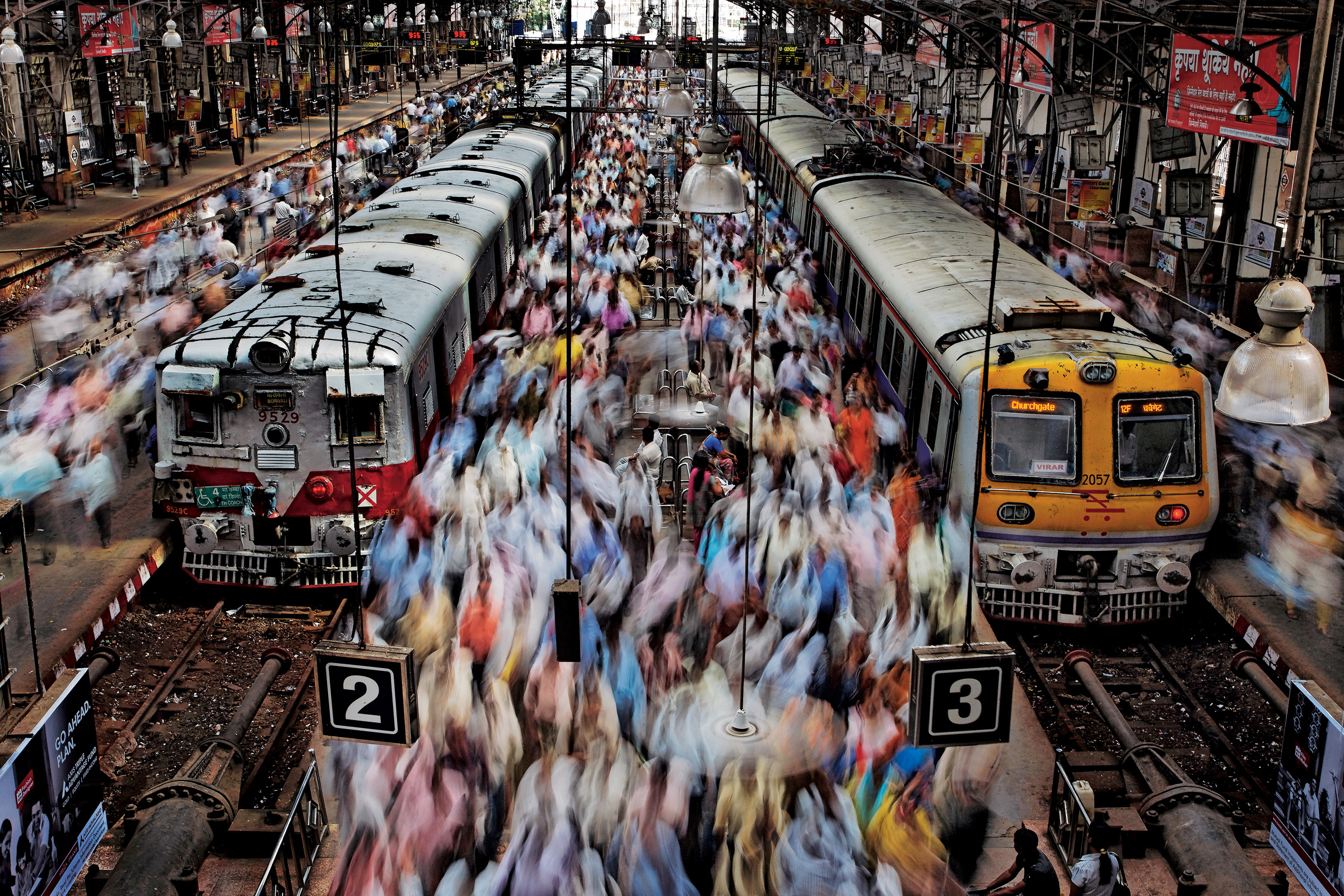 "Seeking to capture the throng in Churchgate Station, Randy Olson coached a local assistant through the laborious process needed to get this shot, because the perfect vantage point was closed to foreigners. ""After four hours we had this picture -- and a small victory over Indian bureaucracy."" Mumbai, 2011"