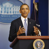 President Obama makes a statement to the press about the government shutdown in the White House briefing room Monday.