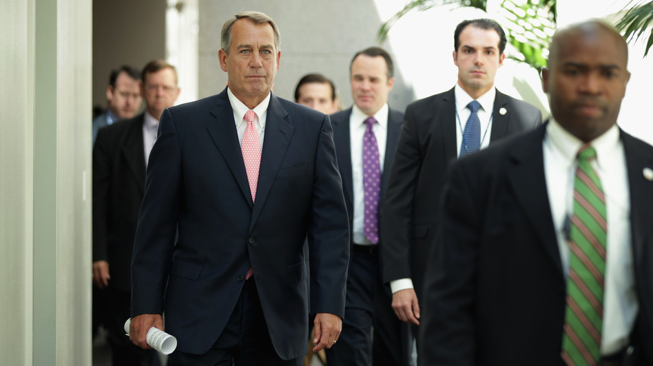 Speaker of the House John Boehner, a Republican from Ohio, arrives for a Republican Conference meeting at the U.S. Capitol on Friday in Washington, D.C. (Getty Images)