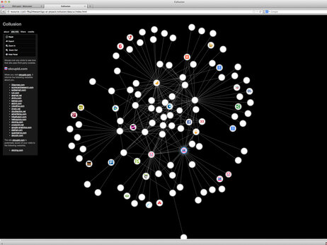 A software program, Collusion, reveals companies — depicted as white circles — that are tracking a computer while the user is visiting OKCupid.com. Dotted lines show information flowing between them.